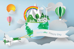 Paper art of World environment day. Royalty Free Stock Photo