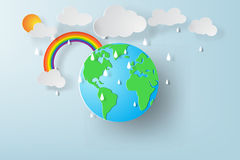 Paper art of World environment day with rainy season. Royalty Free Stock Photo