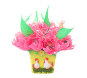 Paper artificial flowers with candy, isolated Royalty Free Stock Image