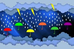 Paper artwork for rainy day season. composition of clouds,umbrellas, water drops and lighting. vector illustration.
