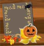 Paper and autumn leaves Royalty Free Stock Image