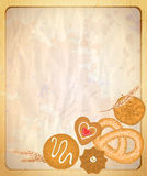 Paper backdrop with empty place for text and illustration of assorted cookies. Stock Image