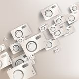 Paper background with photo camera web icon Stock Image