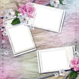 Paper background with stamp-frames and flowers royalty free stock photos