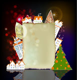 Paper background with town houses and Christmas tree Royalty Free Stock Photos
