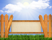 Paper background on wood fence Stock Photography