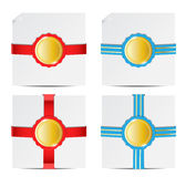 Paper badge red and blue Stock Image