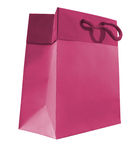 Paper bag. Pink color paper bag on white background royalty free stock photography