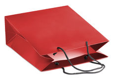 Paper-bag. Red beamless paper-bag with cords Stock Photos