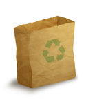 Paper bag. Illustration of paper bag with green recycling arrows on it Stock Image