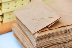 Paper bag. S on the background of chocolate Royalty Free Stock Images