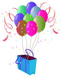 A paper bag with balloons Royalty Free Stock Images