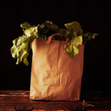 Paper bag with beet greens. Concept of healthy grocery shopping Stock Images