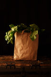 Paper bag with beet greens. Concept of healthy grocery shopping Stock Image