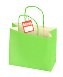 Paper bag and blank price tag Royalty Free Stock Images