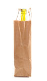 Paper bag with bottle inside Stock Photos