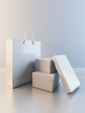 Paper bag and boxes for shoes Stock Photo