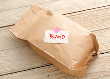 Paper bag with branding concept royalty free stock image