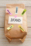 Paper bag with branding marketing concept stock image