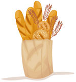 Paper bag with bread Stock Image