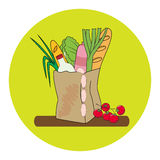 Paper bag with bread, milk, sausage and vegetables. vector illustration. Paper bag with bread, milk, sausage and vegetables. Hand drawn vector illustration Stock Photo