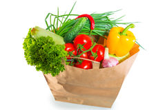 Paper bag brim full of healthy  food Stock Photography