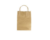 Paper bag  brown color  isolated.  Stock Photos