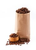 Paper bag with coffee beans. Royalty Free Stock Image