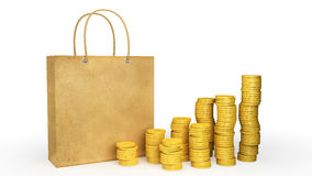 Paper bag with coins Stock Photos