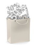 Paper bag with discount rate Stock Photography
