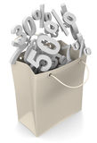 Paper bag with discount rate Stock Photo