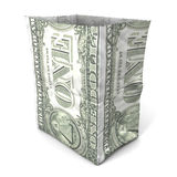 Paper bag dollar front Royalty Free Stock Photos