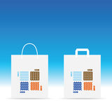 Paper bag with earth fire and water icon on it illustration. In colorful Stock Photo