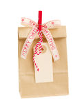 Paper bag with empty tag  for christmas Royalty Free Stock Photography