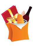 Paper bag with food. Vector illustration of paper bag with food Stock Photo