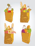 Paper bag with food bread and fruits, vegetable ve Stock Photo
