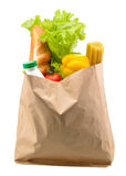 Paper bag with food isolated Royalty Free Stock Photography