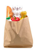 Paper bag with food isolated Stock Image