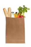 Paper bag with food over white Stock Photography