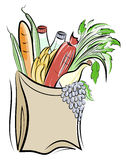 Paper bag with foods Stock Image