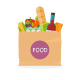 Paper bag with foods. Healthy organic fresh and natural food. Gr Royalty Free Stock Photography