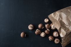 Paper Bag with fresh Champignons Stock Photography