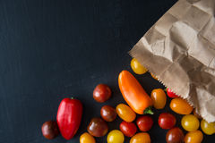 Paper Bag with fresh mini Vegetables Stock Photography