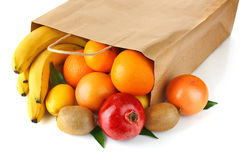 Paper bag with fresh ripe fruit Stock Photography