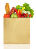 Paper bag full. Of groceries isolated on white Royalty Free Stock Photo