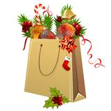 Paper Bag Full Of Christmas Balls Royalty Free Stock Image