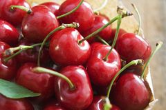 Paper bag full of red cherries Royalty Free Stock Images
