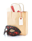 Paper bag with gifts Royalty Free Stock Photography