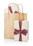 Paper bag with gifts Royalty Free Stock Images