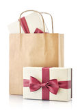 Paper bag with gifts Stock Photos